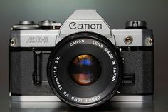 I have digital cameras but I prefer to take photos with slide film.  This is the camera I use, the 1976 Canon AE-1.