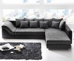 Canapé d'angle convertible River noir/gris