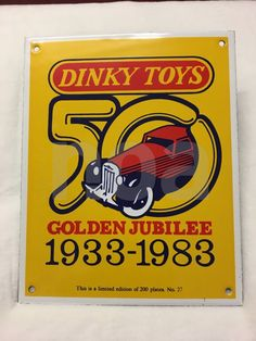 DINKY TOYS 50 GOLDEN JUBILEE  1933-1983 PLAQUE EMAILLE EXEMPLAIRE N° 27