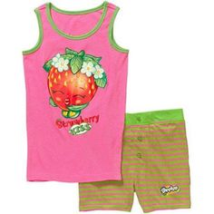 Shopkins Girls' Strawberry Kiss Tank Sleepwear Set, Size: 6, Multicolor