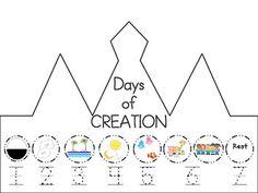 Creation crown by Lindsey Rohde Gods Creation Crafts, Creation Preschool Craft, Creation Activities, Days Of Creation, Preschool Bible, Bible Activities, Bible Story Crafts, Bible Stories For Kids, Bible Lessons For Kids