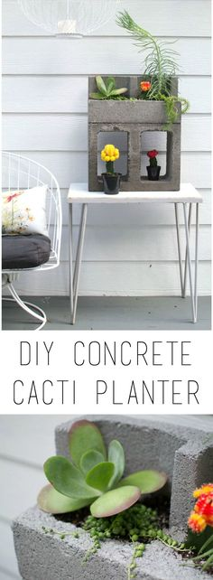 Create an urban jungle with this easy to make concrete block cacti planter | {Home-ology} modern vintage #homeologymodernvintage