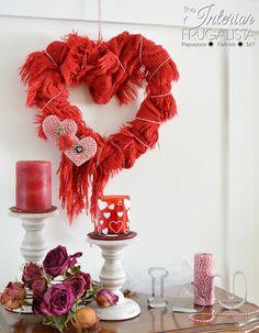 Heart wreath made from a scarf. http://www.interiorfrugalista.com/2018/01/easy-diy-valentines-scarf-wreath.html