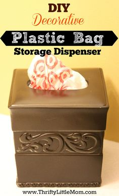 DIY Decorative Plastic Bag Dispenser- You can finally keep your plastic bags out within reach by making your own decorative dispenser from materials at garage sales and thrift stores! Using tissue box cover Plastic Bag Storage, Diy Storage, Organization Hacks, Plastic Bags, Plastic Recycling, Smart Storage, Organizing Ideas, Kitchen Organization, Diy Bag Dispenser