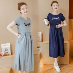 b9600119395 US $17.0 10% OFF|2018 Summer Women Maternity Dresses for Pregnant Women  Loose Clothing Maternity Fashion O neck Nursing clothes-in Dresses from  Mother ...