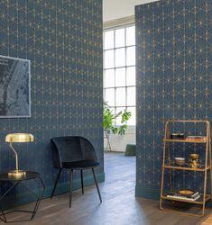 Metropolitan Collection by Galerie - Green Wallpaper, Geometric Wallpaper, Wall Wallpaper, Wallpaper Ideas, Wallpaper Suppliers, Splashback Tiles, Blue Living Room Decor, Blue Colour Palette, Style Deco