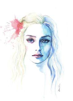 Watercolor painting  Game of Thrones Daenerys by sookimstudio, $22.00