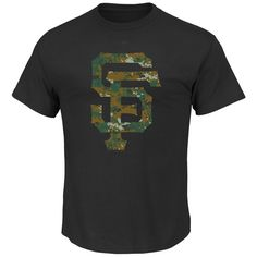 Youth Majestic Black San Francisco Giants USMC Woodland Camo Logo T-Shirt