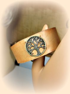 Tree of Life Leather Cuff Bronze or Silver