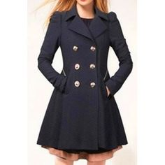 Fashionable Turn-Down Collar Long Sleeve Double-Breasted Coat For Women (CADETBLUE,M) in Jackets & Coats | DressLily.com