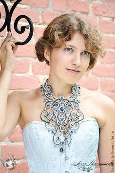 Колье Baroque с кристаллами Swarovski и бисером - украшения,колье,синий