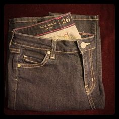 """Kate Spade skinny jeans. Excellent like new condition Kate Spade dark wash skinny jeans.  Perry Street style. Inside says """"play hooky"""". 8"""" front rise. 28.5"""" inseam. Size 26.  Like new.  No flaws. kate spade Jeans Skinny"""
