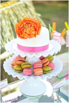 :: white neon cake and macarons ::