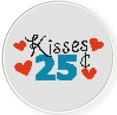 Kisses 25 Cents  Cross Stitch Pattern