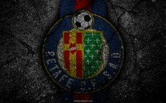 Download wallpapers Getafe, logo, art, La Liga, soccer, football club, LaLiga, grunge, Getafe FC