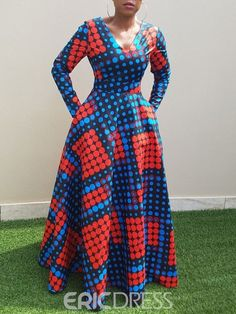 Vintage Polka Dots Long Dress African Clothing Long Sleeve Autumn Winter Swing Printed Ladies Tunic Retro Dress Size M Color Blue Latest African Fashion Dresses, African Dresses For Women, African Print Dresses, African Print Fashion, African Attire, Polka Dot Long Dresses, African Traditional Dresses, The Dress, Dress Long