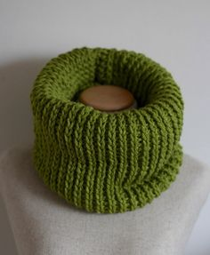 Avocado green cowl scarf knit infinity scarf vegan by FawnAndFolly