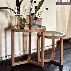Nordal Satsbord soffbord runda trä glas