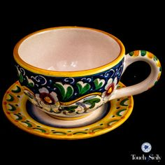 Italian pottery - latte - tea cup & soucer - Each piece from Touch of Sicily is hand painted and hand made.