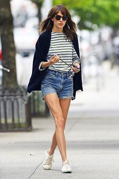 Model and TV personality Alexa Chung, sporting a striped shirt, dark sweater and cutoff jeans, headed out in Soho on May 16th. #nyc #fashion #alexachung  Photo: Pacific Coast News