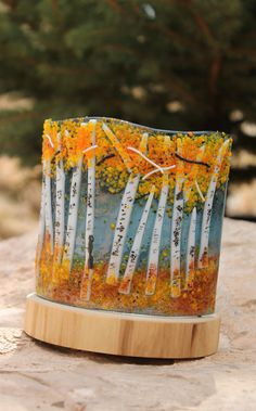 Aspen Fused Glass Votive by MountinDesigns on Etsy, $40.00