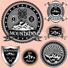 set of vector monochromatic emblems with mountains