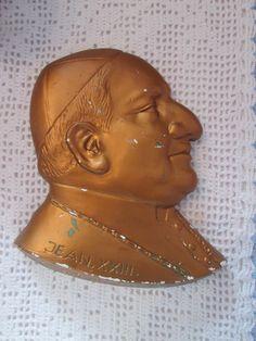 Vintage  '' Plaque en plâtre  Pape Jean. XXIII / plaster pape de la boutique Roselynn55 sur Etsy