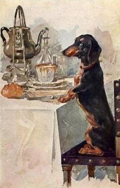 Vintage Dachshund postcard on facebook.com