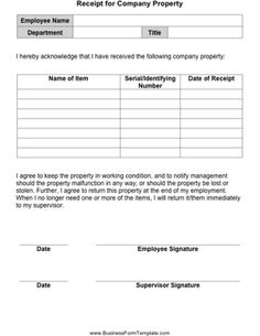 Have an employee fill out and sign this form to indicate what company property he/she has in his/her possession. Free to download and print