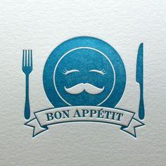 Letterpress Bon Appetit Note Card in Blue. Letterpress Delicacies