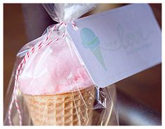 Cones with Cotton Candy for Party Favors. Maxfield's Ice Cream Birthday Party