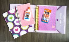 DIY Back-to-School Supply Decorating Ideas! Your kids will love customizing their new school supplies for the first day of school using glue, gems, and other embellishments.