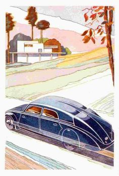 The design is very Buck Rogers! Technical Illustration, Car Illustration, Car Posters, Poster Ads, Vintage Ads, Vintage Posters, Moto Car, Car Advertising, Aviation Art
