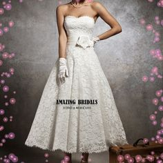 short lace wedding dress style 8632-short tea-length strapless lace wedding gown wedding dress on Etsy, £159.50