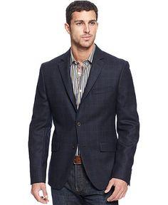 Tallia Orange Jacket, Navy Windowpane Blazer - Mens Blazers & Sport Coats - Macy's