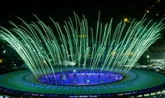 Fireworks go off during a rehearsal of the Rio 2016 opening ceremony on Wednesday.