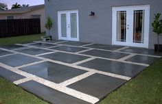 Diy Concrete Patio Pavers - Create A Stylish Patio With Large Poured Concrete Pavers Create A Stylish Patio With Large Poured Concrete Pavers Diy Backyard Patio Part 2 Budget Bac. Large Concrete Pavers, Poured Concrete Patio, Cement Patio, Gravel Patio, Stamped Concrete, Patio Diy, Backyard Patio, Patio Ideas, Pallet Patio