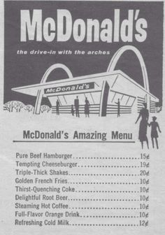 1950's McDonalds Menu This is the price I remember paying for my first McDonald's cheeseburger!