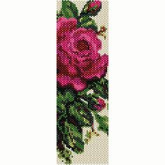 Victorian Rose Peyote Bead Pattern Bracelet Cuff Bookmark