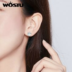 The Kiss Forever Round Golden Clear CZ 925 Sterling Silver Stud Earrings