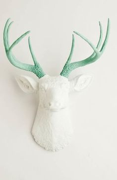 White Deer Head Wall Mount, The Isabella- Seafoam Green Antlers on a White Faux Deer Head, Stag & Resin Animal Heads by White Faux Taxidermy Stag Deer, Deer Antlers, White Deer Heads, Deer Species, Fake Walls, Faux Deer Head, Log Home Interiors, Western Furniture, Cabin Furniture