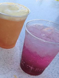Red's Apple Freeze (left) and Ramone's Pear a Dice soda (right) are two of the new non-alcoholic beverages offered in Cars Land. Photo by Adrienne Vincent-Phoenix.