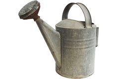 "French Watering Can   Vintage French  1910 - 1950  Tin/brass  12"" L x 16"" W x 24"" H  375.125"