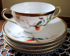 Antique Hand Painted Bird Gold Nippon Cream Soup Bowl with Underplate Saucer 4 Cream Soup, China Dinnerware, Vintage Table, Tea Cups, Hand Painted, Bird, Antiques, Tableware, Ebay