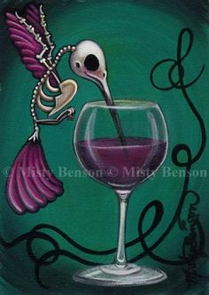 hummingbird art skeleton fantasy day of the dead wine gothic fairy tale bird