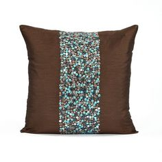 "18"" X 18"" Silk Dupioni Teal & Brown Beaded Throw Pillow Cover"