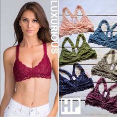 LUXE Burgundy lace stretch soft racerback bralette