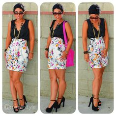 OOTD DIY Floral Skirt   Outfit details @ www.mimigstyle.com