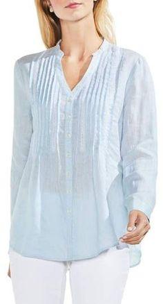 Vince Camuto Pintuck Linen Shirt Linen Blouse, Pin Tucks, Vince Camuto, Nordstrom, Tunic Tops, Pretty, Shirts, Women, Fashion