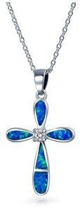 Bling Jewelry Cz Synthetic Blue Opal Cross Pendant Sterling Silver Necklace 18 Inches.